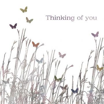 "THINKING OF YOU CARD ""BUTTERFLIES IN A FIELD"" SIZE 6.25"" x 6.25"" AGOJ 9986"